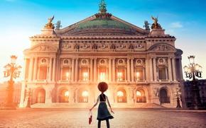 Обои Балерина, фонари, дворец, мультфильм, площадь, Ballerina, рыжая, девочка