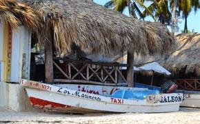 Картинка лодка, Пляж, хижина