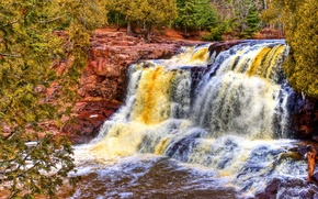 Картинка лес, деревья, река, скалы, цвет, поток, США, state park, minnesota, gooseberry river