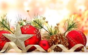 Картинка украшения, ленты, шары, звезда, Новый Год, Рождество, star, Christmas, balls, New Year, decoration, ribbon