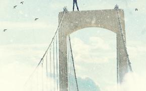 Картинка девушка, птицы, мост, старина, ветер