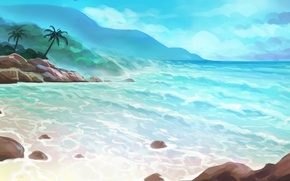 Картинка море, лето, пальмы, остров, арт, нарисованный пейзаж