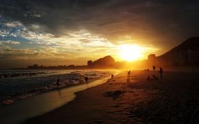 Картинка beach, sunset, rio de janeiro, copacabana