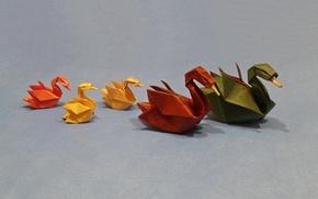 Картинка бумага, фон, лебеди, оригами