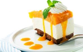 Обои сладости, торт, крем, кусочек, десерт, пирожное, джем