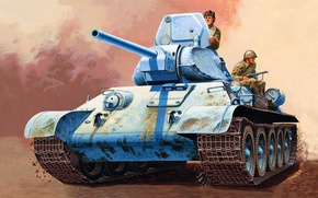 Картинка war, art, painting, tank, ww2, T-34/76