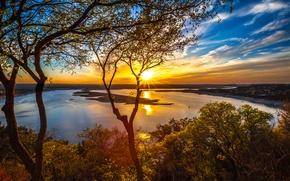 Обои lake travis, austin, texas, сша, небо, облака