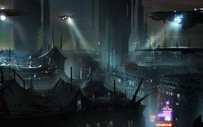 Картинка ночь, city, город, фантастика, париж, арт, будущие, Blade Runner, Бегущий по лезвию