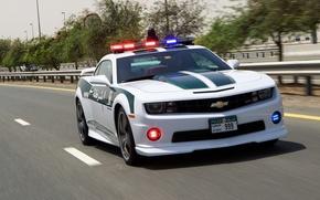 Картинка дорога, Chevrolet, Camaro, Camaro SS, полицейская, police car