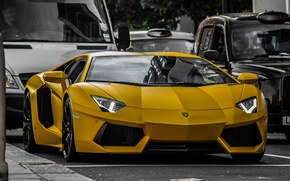 Картинка car, улица, Lamborghini, sport, Ламборгини, Aventador, авентадор, жолтый, super car, машины., sport cars, LP640 yellow