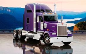 Картинка небо, горы, отражение, грузовик, тягачь, передок, truck, трак, кенуорт, Кенуорт, W900L, Kenworth