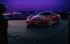Картинка Porsche, Red, Sky, Purple, Front, 918, Color, Supercar