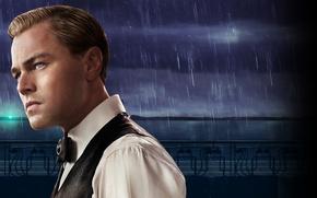 Картинка капли, ночь, дождь, Нью-Йорк, rain, night, New York, Леонардо ДиКаприо, струи, Leonardo DiCaprio, The Great …