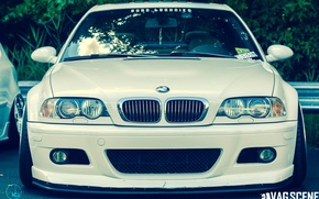 Картинка бмв, BMW, белая, tuning, stance, e46