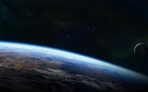 Картинка звезды, поверхность, планета, атмосфера, спутники