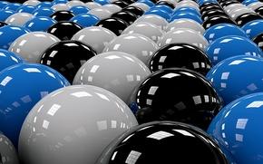 Картинка белый, чёрный, голубой, шары, ряды