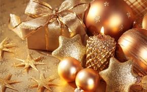 Обои шарики, украшения, праздник, новый год, рождество, свеча, подарки