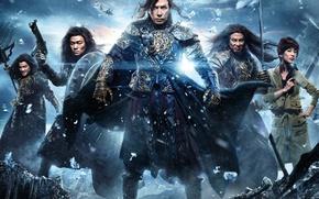 Картинка battlefield, girl, sword, gun, ice, soldier, sky, actor, weapon, woman, war, snow, katana, man, army, …