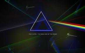 Картинка призма, Pink Floyd, Progressive rock, the dark side of the moon, обложка альбома