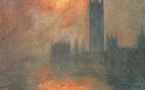 Обои Клод Моне, картина, городской пейзаж, Здание Парламента. Рассвет