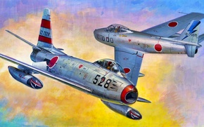 Картинка war, art, painting, aviation, jet, F-86F-40 Sabre