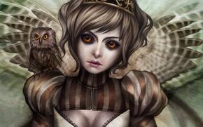 Картинка девушка, сова, крылья, совёнок, Gracjana Zielinska