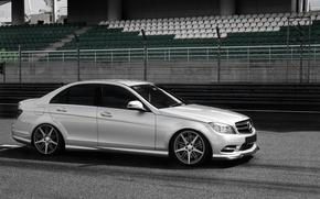 Картинка дорога, серебро, silver, Mercedes, трек, мерседес, track, C-Classe