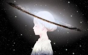 Картинка небо, девушка, космос, звезды, планета, голова, аниме, арт, sawasawa