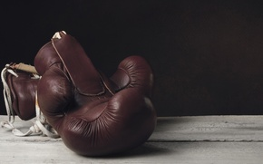 Картинка old, leather, boxing, gloves
