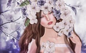 Картинка девушка, цветы, портрет, пирсинг