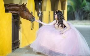 Картинка девушка, настроение, конь, лошадь, платье, невеста