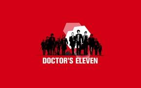 Картинка арт, пародия, актеры, Doctor Who, красный фон, мужчины, Доктор Кто, Ocean's Eleven