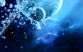 Обои синий, планета, лед