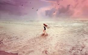 Картинка Закат, Море, Девушка, Волны, Птицы