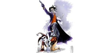 Картинка criminal, comics, Harleen Frances Quinzel, bad, coat, mask, fantasy art, kneeling, Harley Quinn, painting, weapons, …