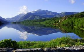 Картинка лес, горы, озеро, отражение, Англия, England, Уэльс, Wales, Snowdonia, Сноудония, Llyn Padarn
