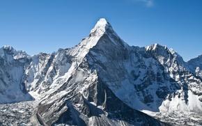 Обои ледник, кхумбу, голубое, небо, легкие