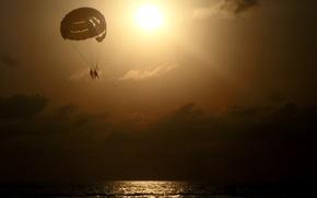 Картинка море, солнце, облака, закат, отдых, романтика, парашют, пара, водоем, Сочи, Черное море