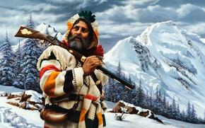 Картинка снег, деревья, горы, камни, картина, горец, La descente du Payshaul, Alfredo Rodriguez
