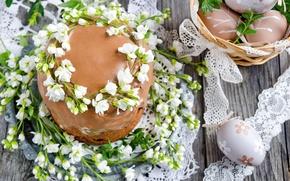 Картинка цветы, весна, Пасха, cake, кулич, flowers, глазурь, spring, Easter