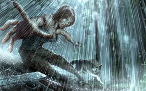 Картинка gun, rain, wolf, Tomb raider