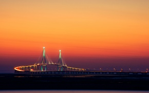 Картинка мост, город, огни, Корея, Инчхон, by Yoonki Jeong