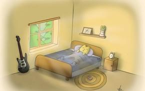 Картинка кот, гитара, утро, спит