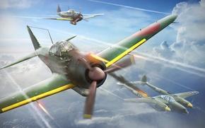 """Картинка небо, истребитель, арт, американский, самолёты, морские, японские, тяжелый, WW2, палубные истребители, подбитый Локхид P-38 """"Лайтнинг"""", ..."""