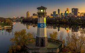 Картинка закат, река, маяк, дома, вечер, США, Minnesota, Minneapolis