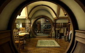 Обои дом, интерьер, нора, властелин колец, арт, lord of the rings, hobbit, steven donnet, шир