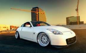 Картинка белый, Nissan, white, спорткар, 350z, ниссан, frontside