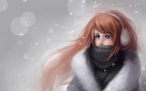 Картинка зима, девушка, снег, рисунок, кукла, шарф, Anna Linberger