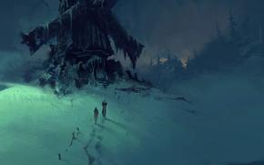 Картинка зима, снег, ночь, следы, арт, мельница, путники