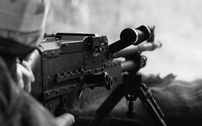Картинка machine gun, soldier, firearm, white and black